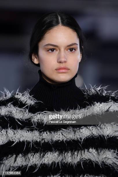Model walks the runway during the Balmain show as part of the Paris Fashion Week Womenswear Fall/Winter 2019/2020 on March 01, 2019 in Paris, France.