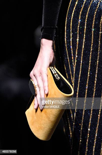 A model walks the runway during the Balmain show as part of the Paris Fashion Week Womenswear Fall/Winter 2015/2016 on March 5 2015 in Paris France