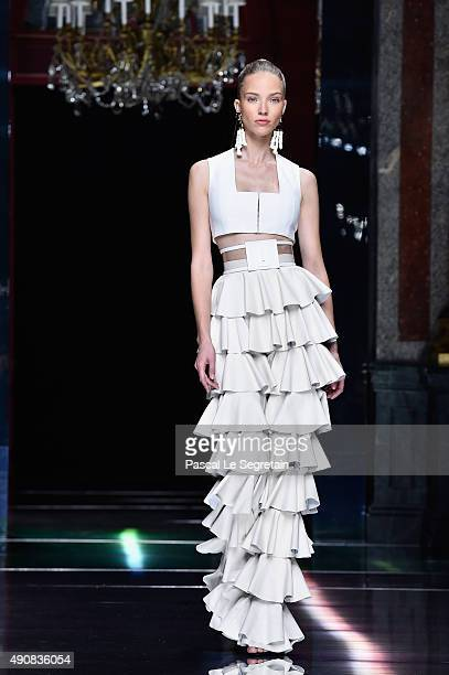 A model walks the runway during the Balmain show as part of the Paris Fashion Week Womenswear Spring/Summer 2016 on October 1 2015 in Paris France