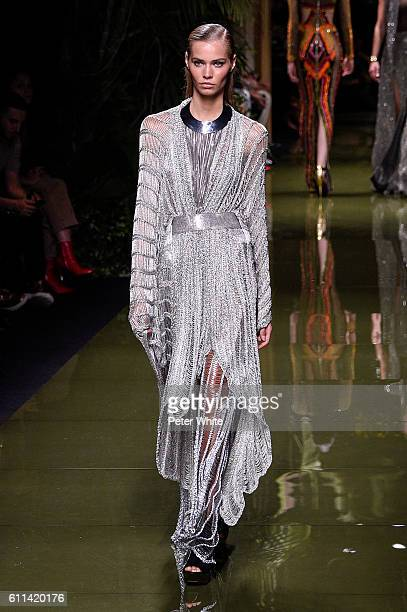 A model walks the runway during the Balmain show as part of the Paris Fashion Week Womenswear Spring/Summer 2017 on September 29 2016 in Paris France