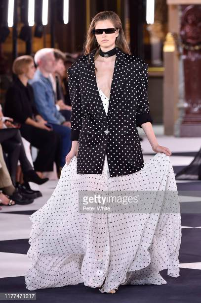A model walks the runway during the Balmain Womenswear Spring/Summer 2020 show as part of Paris Fashion Week on September 27 2019 in Paris France