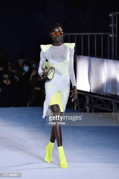 Model walks the runway during the Balmain Womenswear Spring/Summer 2021 show as part of Paris Fashion Week on September 30, 2020 in Paris, France.