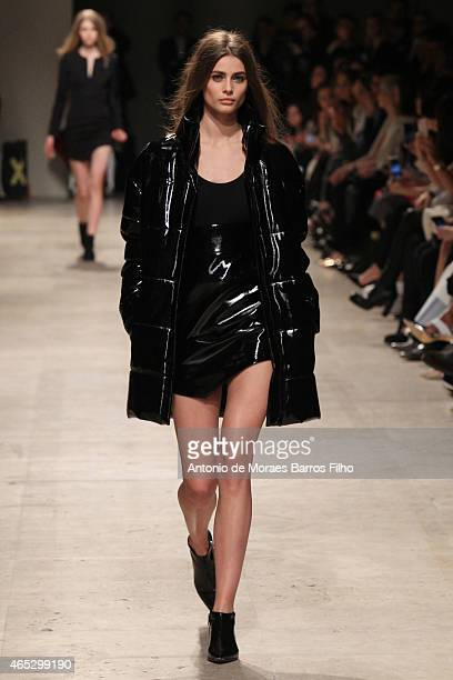 A model walks the runway during the Barbara Bui show as part of the Paris Fashion Week Womenswear Fall/Winter 2015/2016 on March 5 2015 in Paris...