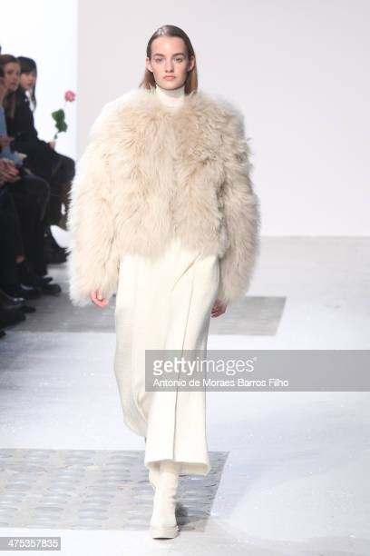 A model walks the runway during the Barbara Bui show as part of the Paris Fashion Week Womenswear Fall/Winter 20142015 on February 27 2014 in Paris...