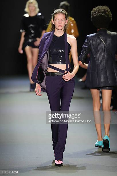 A model walks the runway during the Barbara Bui show as part of the Paris Fashion Week Womenswear Spring/Summer 2017 on September 29 2016 in Paris...