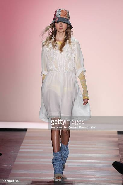 Model walks the runway during the BCBGMAXAZRIA show as a part of Spring 2016 New York Fashion Week at The Arc, Skylight at Moynihan Station on...