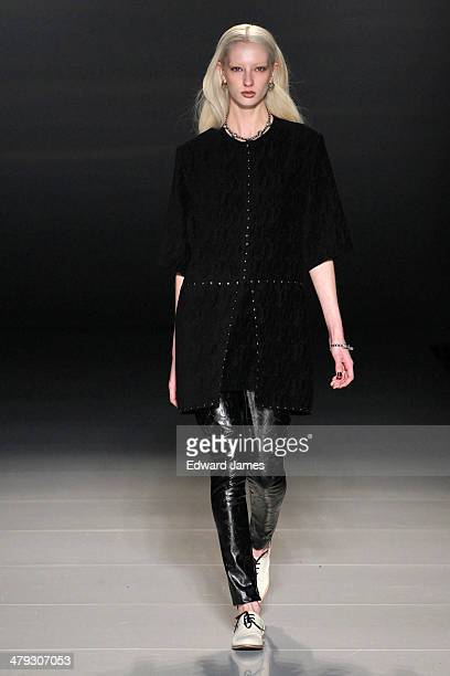 Model walks the runway during the Beaufille fashion show during World Mastercard fashion week on March 17, 2014 in Toronto, Canada.