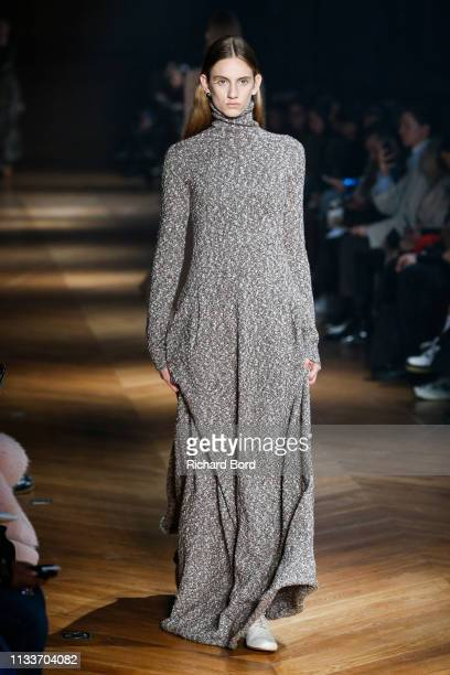 Model walks the runway during the Beautiful People show as part of the Paris Fashion Week Womenswear Fall/Winter 2019/2020 on March 04, 2019 in...