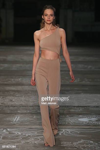 A model walks the runway during the Bec Bridge show at MercedesBenz Fashion Week Resort 17 Collections at Carriageworks on May 17 2016 in Sydney...