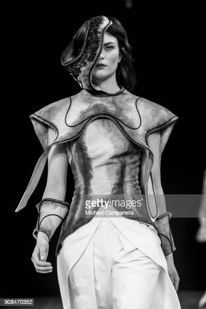 Model walks the runway during the Beckman's College of Design show on the first day of Stockholm Fashion Week at the Grand Hotel on January 21, 2018...