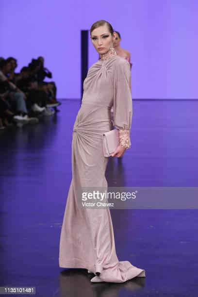 A model walks the runway during the Benito Santos fashion show as part of the MercedesBenz Fashion Week Mexico Fall/Winter 2019 Day 5 at Fronton...