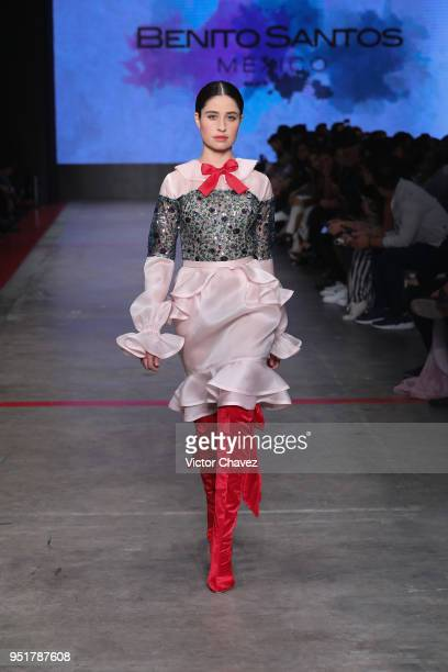 A model walks the runway during the Benito Santos show at Mercedes Benz Fashion Week Mexico Fall/Winter 2018 at Fronton Mexico on April 26 2018 in...