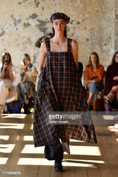 Model walks the runway during the Benjamin Alexander show during New Zealand Fashion Week 2019 at Quay Project on August 28, 2019 in Auckland, New...