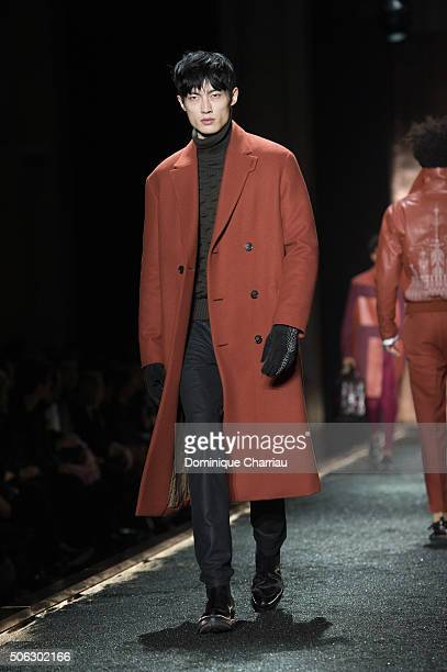 A model walks the runway during the Berluti Menswear Fall/Winter 20162017 show as part of Paris Fashion Week on January 22 2016 in Paris France