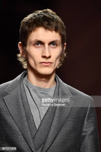 A model walks the runway during the Berluti Menswear Fall/Winter 20182019 show as part of Paris Fashion Week on January 19 2018 in Paris France