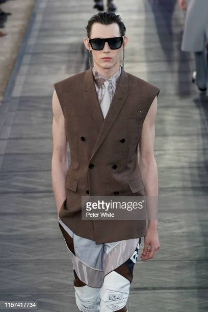 Model walks the runway during the Berluti Menswear Spring Summer 2020 show as part of Paris Fashion Week on June 21, 2019 in Paris, France.
