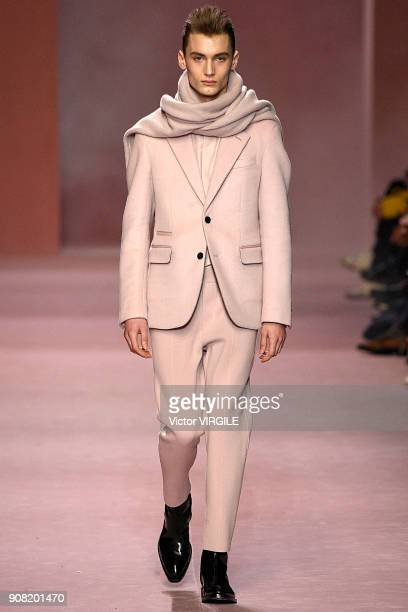 A model walks the runway during the Berluti Plus Menswear Fall/Winter 20182019 show as part of Paris Fashion Week on January 19 2018 in Paris France