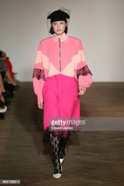 A model walks the runway during the Bessarion Fall/Winter 2018/2019 Collection fashion show at MercedesBenz Fashion Week Tbilisi on May 7 2018 in...