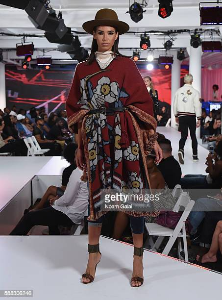 A model walks the runway during the BET How To Rock Denim show at Milk Studios on August 10 2016 in New York City