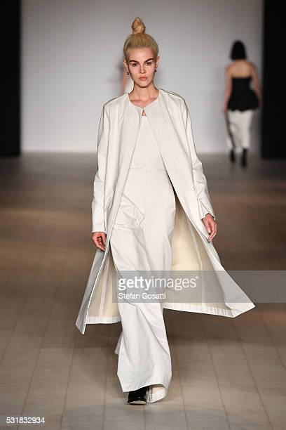 A model walks the runway during the Bianca Spender show at MercedesBenz Fashion Week Resort 17 Collections at Carriageworks on May 17 2016 in Sydney...