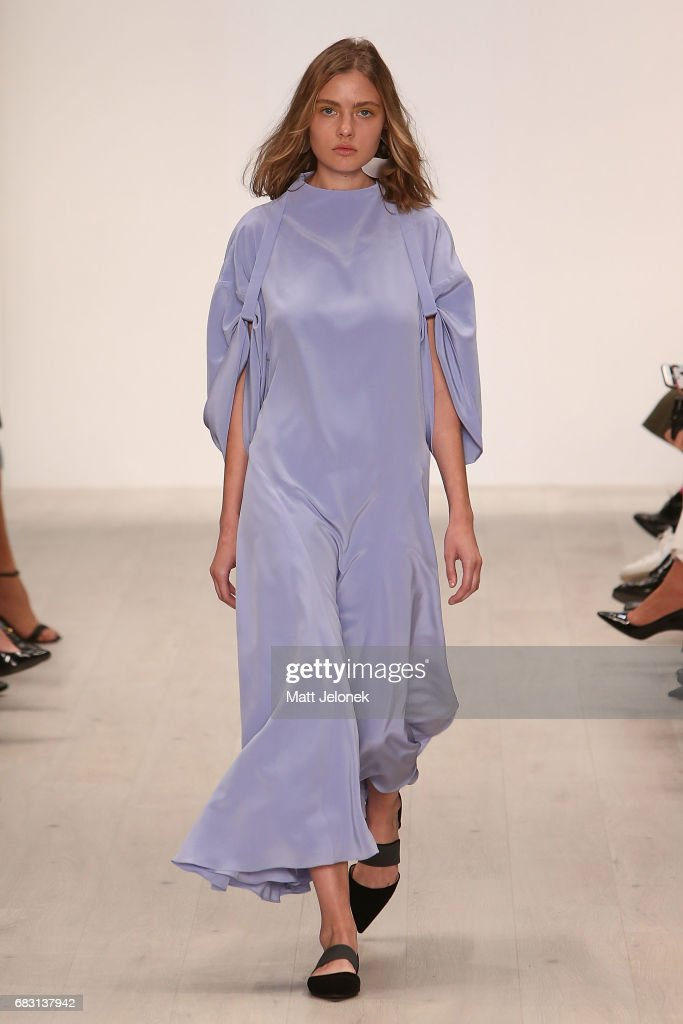 A model walks the runway during the Bianca Spender show at Mercedes-Benz Fashion Week Resort 18 Collections at Carriageworks on May 15, 2017 in Sydney, Australia.