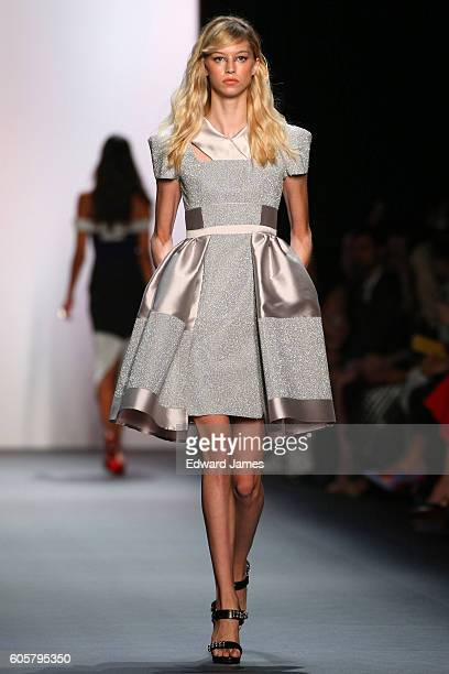 Model walks the runway during the Bibhu Mohapatra fashion show at The Dock, Skylight at Moynihan Station on September 14, 2016 in New York City.