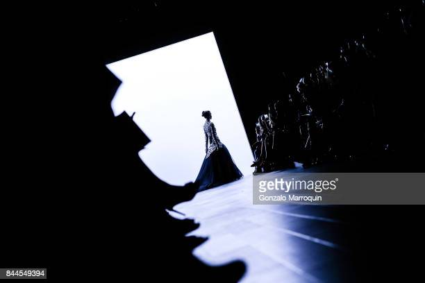 A model walks the runway during the Bibhu Mohapatra fashion show with Narayan Jewellers in association with ForeverMark Diamonds at Skylight Clarkson...