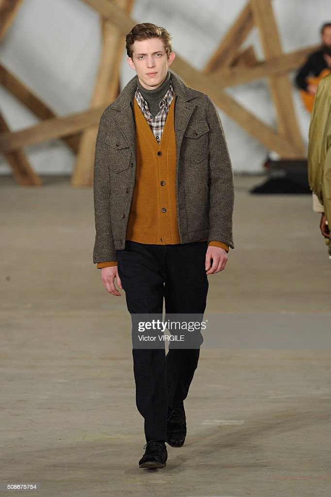 A model walks the runway during the Billy Reid fashion show during the New York Fashion Week Men's Fall/Winter 2016 on February 3, 2016 in New York City.