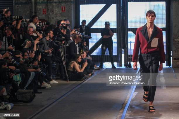 A model walks the runway during the Blair Archibald show at MercedesBenz Fashion Week Resort 19 Collections at Carriageworks on May 15 2018 in Sydney...