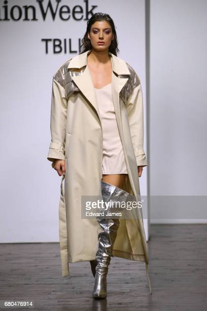 Model walks the runway during the Blikvanger Fall/Winter 2017/2018 collection fashion show during Mercedes-Benz Fashion Week Tbilisi on May 8, 2017...