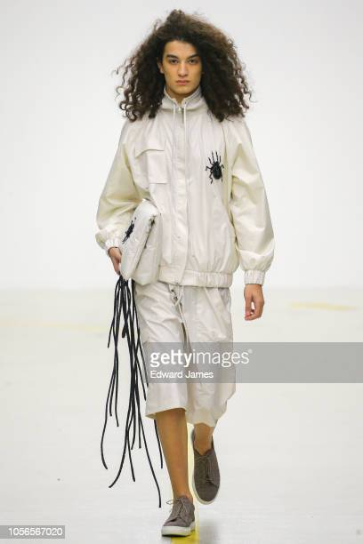 A model walks the runway during the Blikvanger Spring/Summer 2019 Collection fashion show at MercedesBenz Fashion Week Tbilisi on November 2 2018 in...