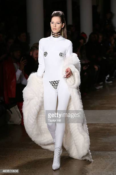 Model walks the runway during The Blonds fall 2015 fashion show during Mercedes-Benz Fashion Week Fall 2015 at Milk Studios on February 18, 2015 in...