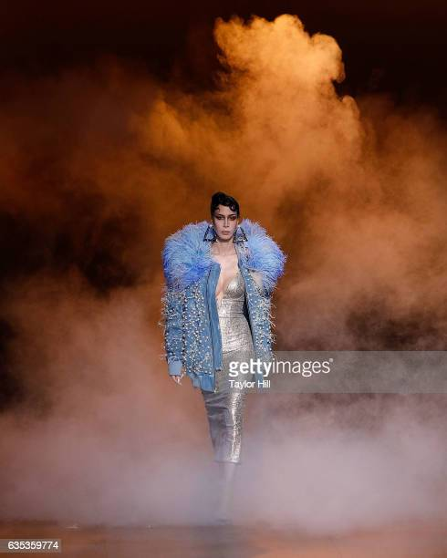 A model walks the runway during The Blonds' Fall 2017 fashion show during New York Fashion Week at Gallery 1 Skylight Clarkson Sq on February 14 2017...