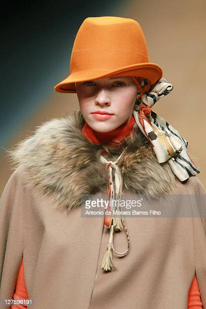 Model walks the runway during the Blugirl show as part of Milan Fashion Week Womenswear Autumn/Winter 2011 on February 24, 2011 in Milan, Italy.