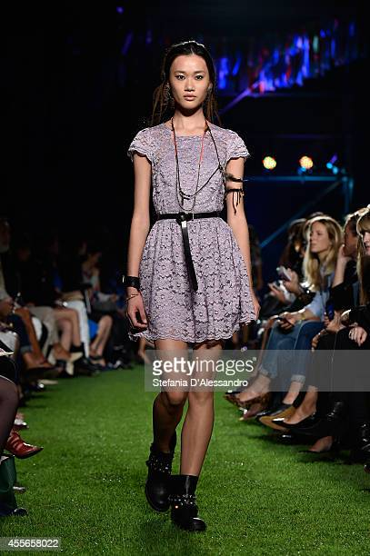 A model walks the runway during the Blugirl show as part of Milan Fashion Week Womenswear Spring/Summer 2015 on September 18 2014 in Milan Italy