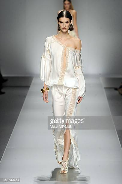 Model walks the runway during the Blumarine show as a part of Milan Fashion Week Womenswear S/S 2013 on September 21, 2012 in Milan, Italy.