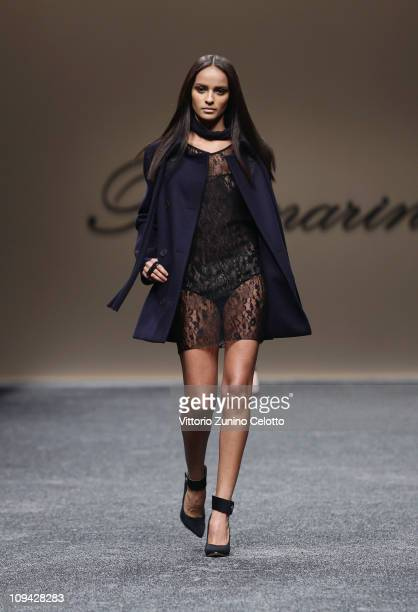 A model walks the runway during the Blumarine show as part of Milan Fashion Week Womenswear Autumn/Winter 2011 on February 25 2011 in Milan Italy