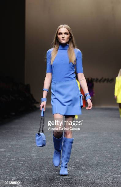 Model walks the runway during the Blumarine show as part of Milan Fashion Week Womenswear Autumn/Winter 2011 on February 25, 2011 in Milan, Italy.