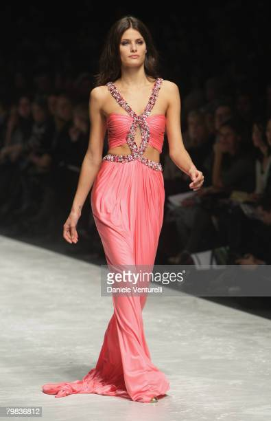 A model walks the runway during the Blumarine show as part of Milan Fashion Week Autumn/Winter 2008/09 on February 19 2008 in Milan Italy