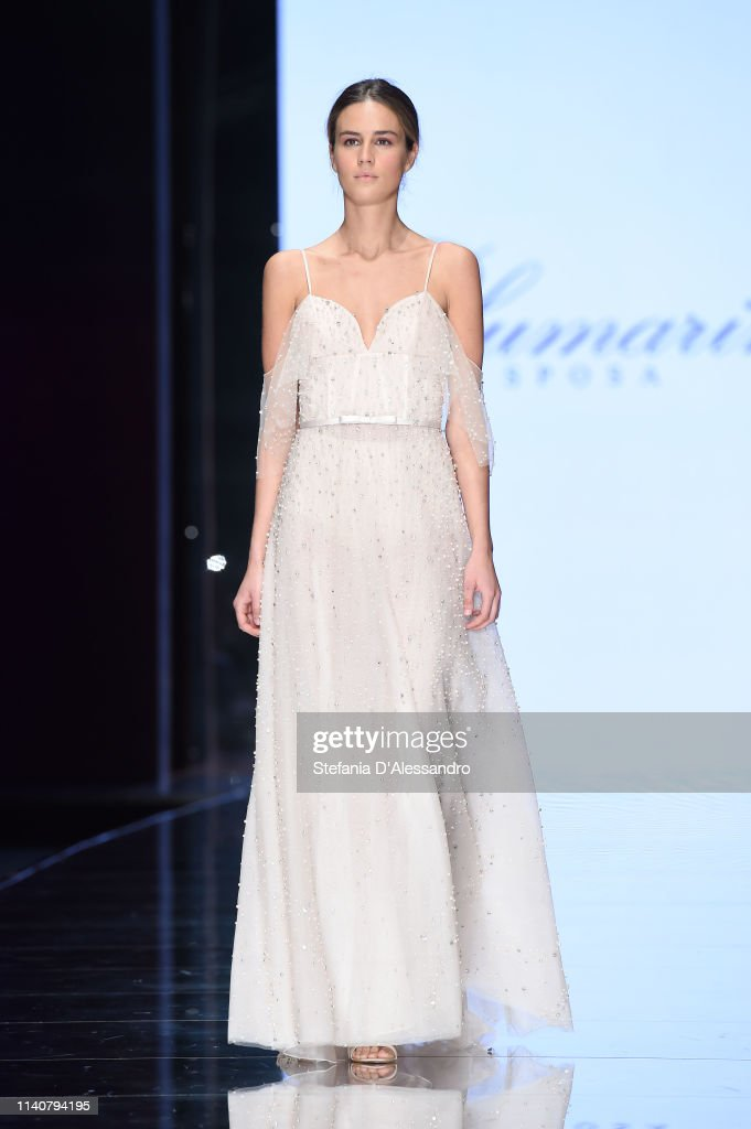 premium selection 25724 d3c1e A model walks the runway during the Blumarine Sposa show at ...