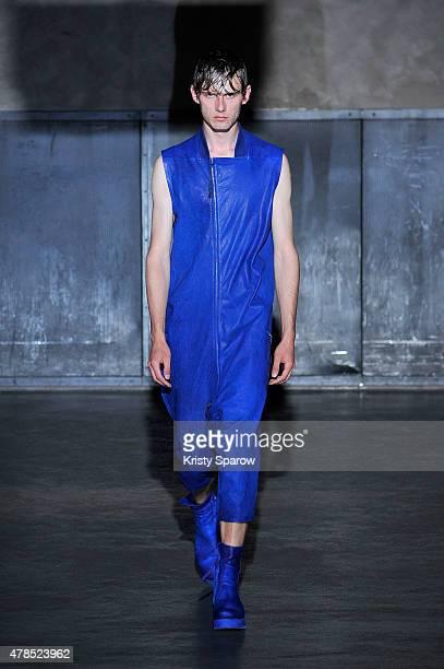 A model walks the runway during the Boris Bidjan Saberi Menswear Spring/Summer 2016 show as part of Paris Fashion Week on June 25 2015 in Paris France