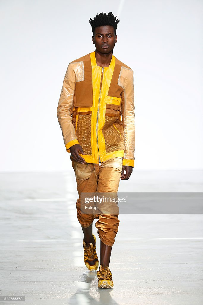A model walks the runway during the Boris Bidjan Saberi Menswear Spring/Summer 2017 show as part of Paris Fashion Week on June 23, 2016 in Paris, France.