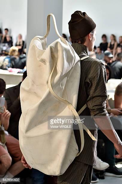 A model walks the runway during the Boris Bidjan Saberi Menswear Spring/Summer 2017 show as part of Paris Fashion Week on June 23 2016 in Paris France