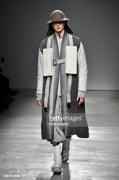 A model walks the runway during the Boris Bidjan Saberi Menswear Fall/Winter 20192020 show as part of Paris Fashion Week on January 17 2019 in Paris...