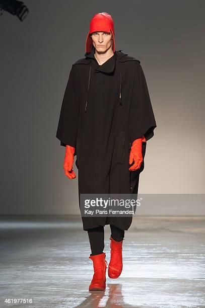 A model walks the runway during the Boris Bidjan Saberi Menswear Fall/Winter 20152016 show as part of Paris Fashion Week on January 22 2015 in Paris...