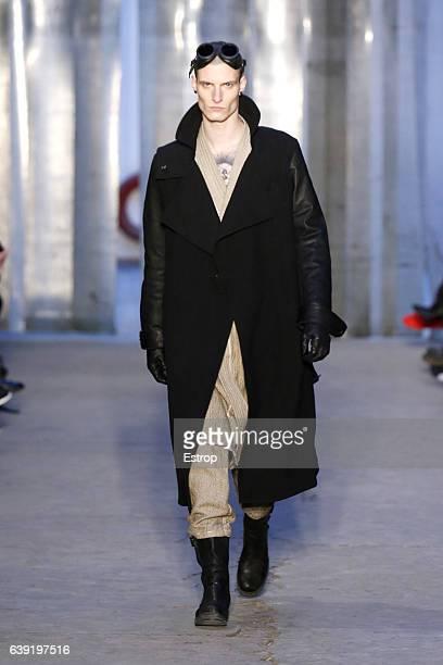 A model walks the runway during the Boris Bidjan Saberi Menswear Fall/Winter 20172018 show as part of Paris Fashion Week on January 19 2017 in Paris...