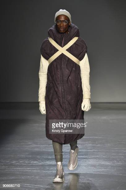A model walks the runway during the Boris Bidjan Saberi Menswear Fall/Winter 20182019 show as part of Paris Fashion Week on January 18 2018 in Paris...