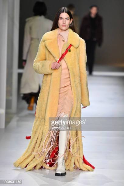 Model walks the runway during the Bottega Veneta fashion show as part of Milan Fashion Week Fall/Winter 2020-2021 on February 22, 2020 in Milan,...
