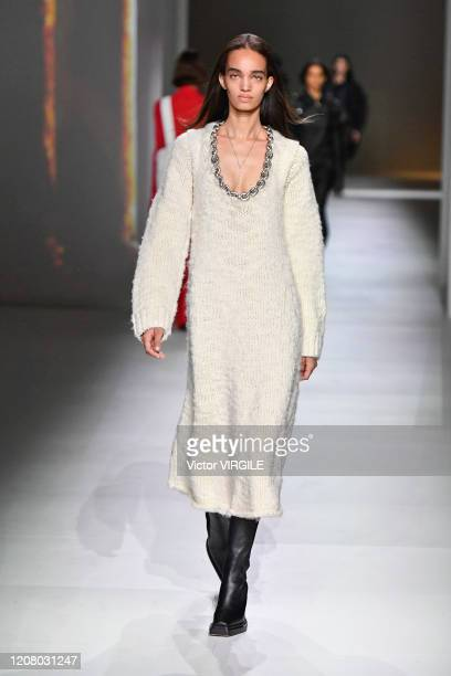 A model walks the runway during the Bottega Veneta fashion show as part of Milan Fashion Week Fall/Winter 20202021 on February 22 2020 in Milan Italy