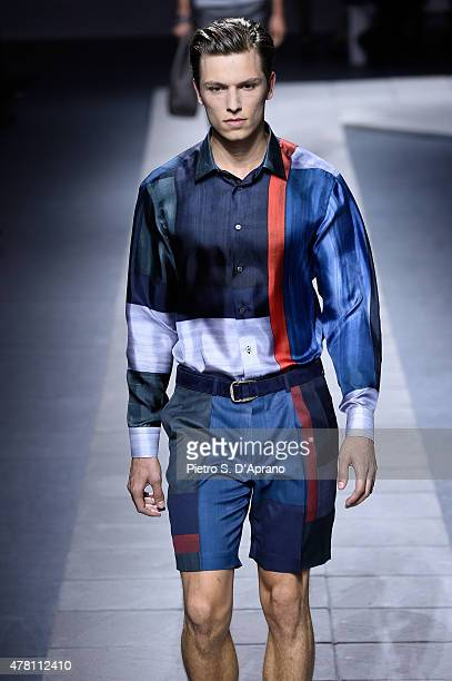 A model walks the runway during the Brioni fashion show as part of Milan Men's Fashion Week Spring/Summer 2016 on June 22 2015 in Milan Italy